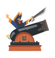brave pirate with saber sitting on gun male vector image vector image