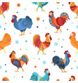 bright seamless pattern with roosters design vector image
