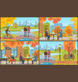 cafe table and coffee cups autumn park vector image