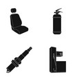 chair with headrest fire extinguisher car candle vector image vector image