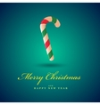 christmas candy cane merry card blue vector image vector image