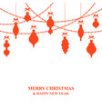 christmas card with baubles and garlands vector image