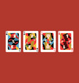 collection cartoon different suits playing card vector image vector image