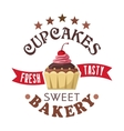 Cupcake shop round badge with chocolate muffin vector image