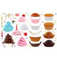 cupcakes maker creation set design elements 3d vector image vector image