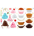 Cupcakes maker creation set of design elements 3d