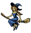 cute beautiful witch riding her flying broom vector image vector image