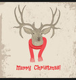 Deer vintage Christmas card animal vector image vector image
