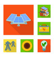 design of solar and panel sign collection vector image