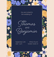 design wedding invitation with gorgeous flowers vector image vector image