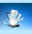 e-ticket on smartphone screen vector image vector image
