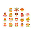 fast food logos set food and drink menu burger vector image