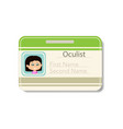female character badge template vector image