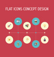 flat icons rocket coin businessman and other vector image vector image