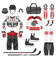 flat style set of hockey equipment vector image vector image