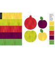 food patterns fruit apple pomegranate plum vector image vector image
