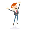 Happy office man hipster jumping vector image