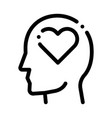 heart love symbol in man silhouette mind vector image