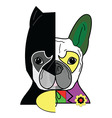 Hero vs villain characters in French bulldog styl vector image