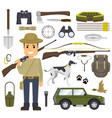 hunting set of equipment hunter with a gun vector image vector image