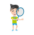 isolated man playing tennis vector image vector image