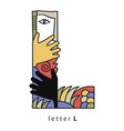 letter l with mask vector image vector image
