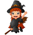 little witch cartoon flying vector image vector image