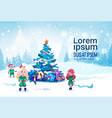 merry christmas background with green elfs over vector image vector image