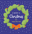 merry christmas cactuses wreath with holiday text vector image
