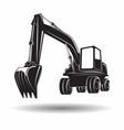 monochrome excavator icon vector image vector image