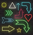 neon sign arrow pointer bright signboard light vector image