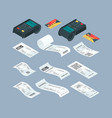 payment terminal isometric purchase billing vector image vector image