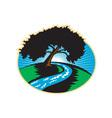 Pecan Tree Winding River Sunrise Retro vector image vector image