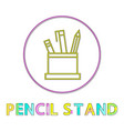pencil stand icon in circle vector image vector image