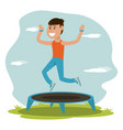 physical education - boy jumping trampoline sport vector image