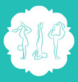 pilates fitnes yoga line silhouettes set vector image vector image