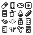 pills drugs and capsules icons set vector image vector image