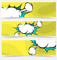 Pop-art comic book explosion card collection vector image vector image