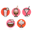 Retro drinks set isolated on white - pink and red vector image vector image