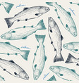 salmonseamless pattern sketch vector image vector image