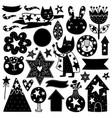 scandinavian kids doodles elements vector image