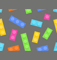 seamless pattern of plastic construction blocks vector image vector image