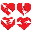 set of icons Hands on Heart vector image