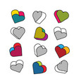 set of isometric 3d hearts in pop art style vector image