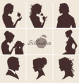 silhouettes set with woman man and child vector image