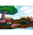 Small plants near the giant tree vector image vector image