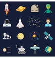 Space cosmos flat icons set vector image vector image