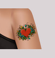 tattoo on shoulder heart decorated with flowers vector image vector image