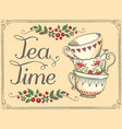 tea time with cute cups freehand drawing sketch vector image vector image