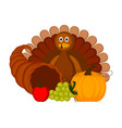 turkey bird with traditional thanksgiving objects vector image